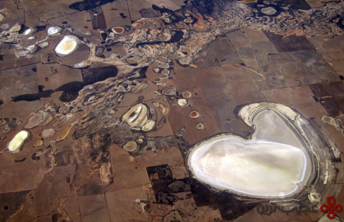 Salt pans and small dams can be seen in drought-affected farming areas located on the outskirts of the Western Australian capital city of Perth