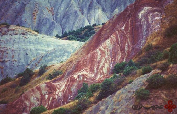 candy cane mountains, azerbaijan