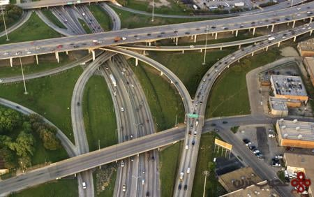 high five interchange, dallas, usa