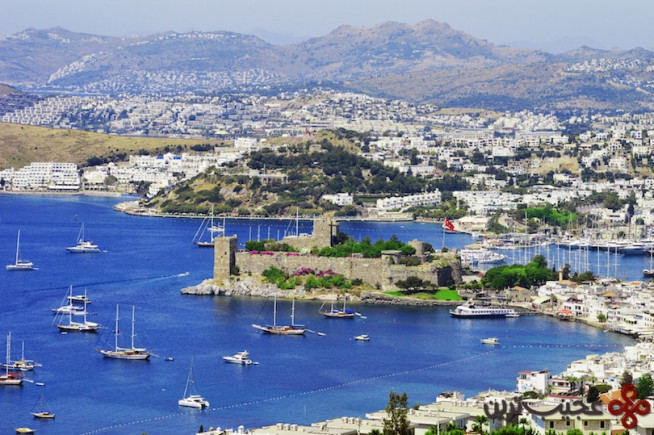 view of bodrum harbor during hot summer day turkish riviera