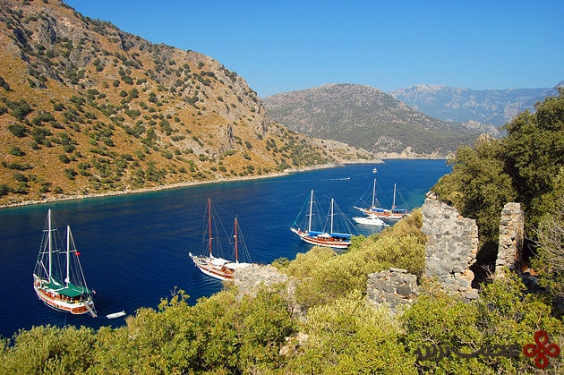 turkey moored yachts near fethiye