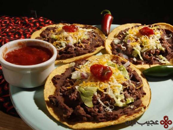 خوراک مکزیکی (لوبیای آب پز، کوبیده و سرخ شده)