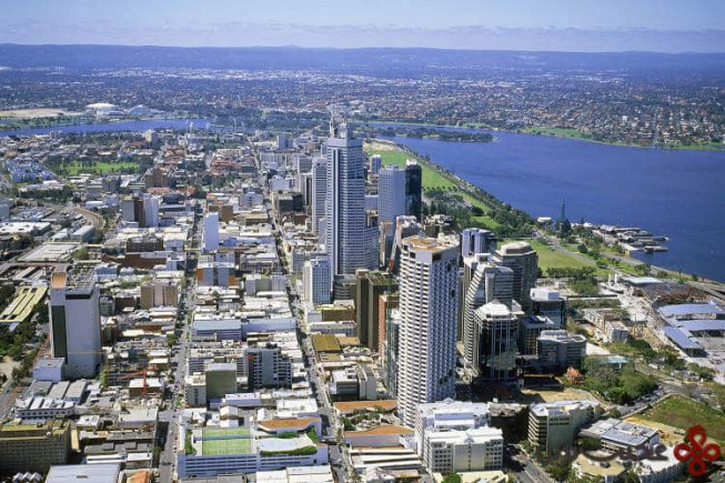 aerial of perth, looking south