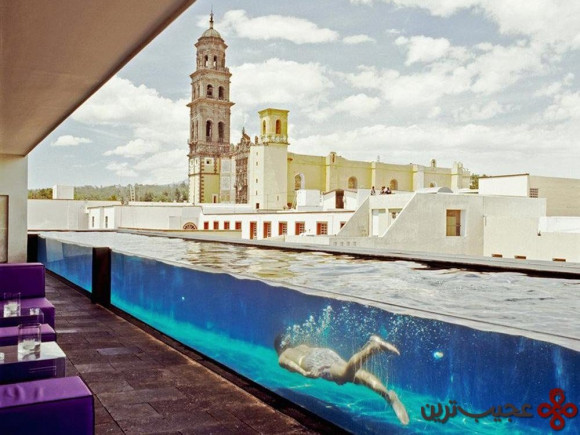 as its name suggests, la purificadora in puebla, mexico, used to be a water purification plant its glass sided pool not only runs through the hotel restauran