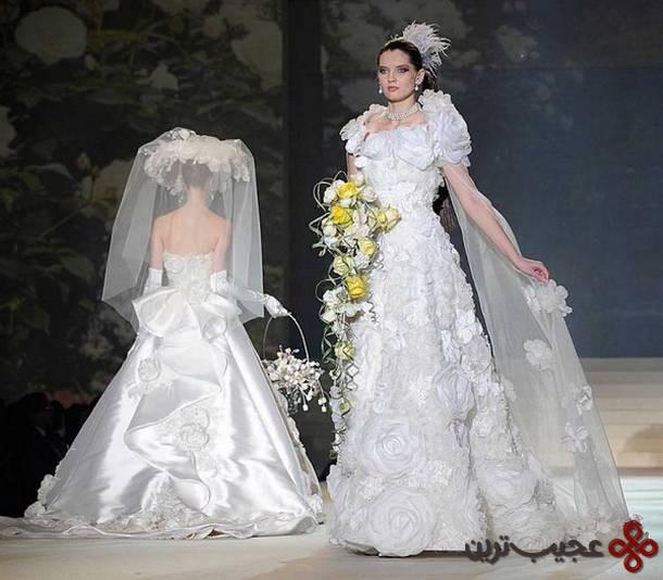 لباس عروسی مزین به الماس و طلای سفید، کاری از یومی کاتسورا